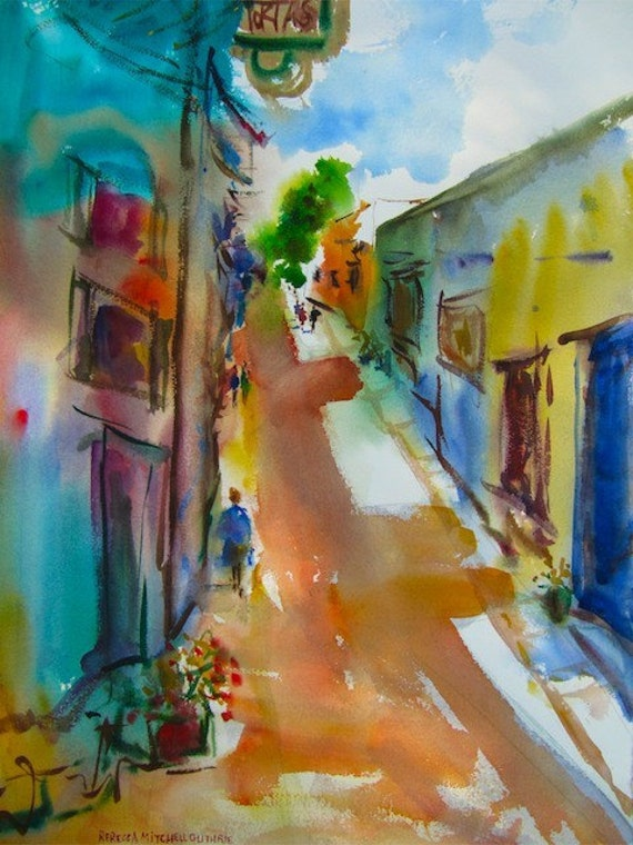 """Colorful World, Original Watercolor Painting Cityscape, Large 30"""" x 22"""", Free Shipping within USA"""