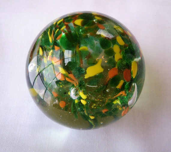 Vintage Multi-Colored Glass Paperweight