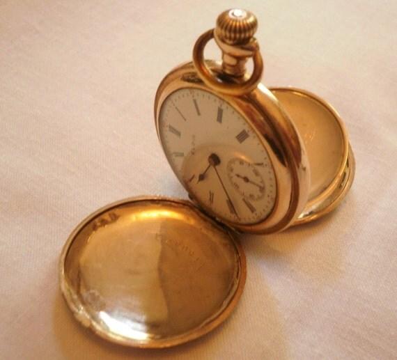 Vintage Gold Elgin Hunter Case Pocket Watch