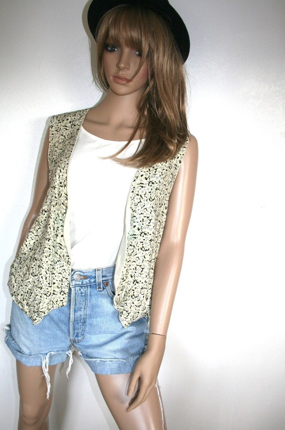 Vintage Floral Vest 80s