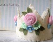 Ivory Felt Crown, Pink Roses Crown, Felt Party Hat, Felt Crown