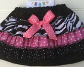 Zebra Print Bloomers or Skirt.  Available in 6-9 through 2T