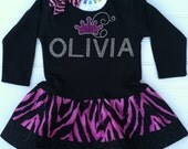 Personalized Crown Zebra  Dress Available in 0-3 months through Size6/8