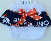 Broncos Diaper Cover.  Available 0-3 months through 6-9 months.