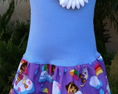 Dora Blue Ruffle Neck Dress. Available in 0-3 months through Size 6/8