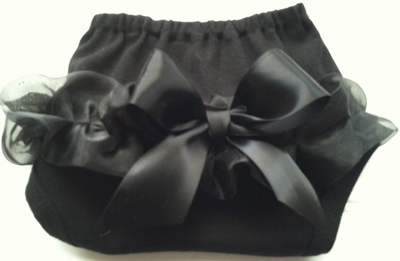 Black Chiffon Diaper Cover.  Available 0-3 months through 6-9 months.