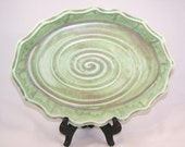 Porcelain Scalloped Serving Tray - Antique Copper Green