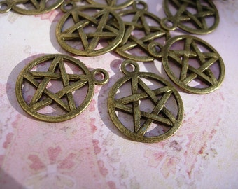 12 PENTACLE Charms - Bronze finish D.I.Y. Wiccan Jewelry Making Majicks Double Sided One dozen