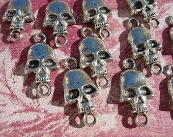 12 Silver SKULL Connectors - 1 to 1 Great for Steampunk D.I.Y. Deathly Hallows Harry Potter Jewelry Making