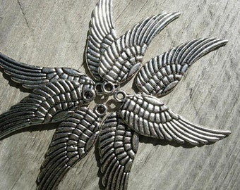 8 pcs Silver finish WING Charm Drops - Eight pieces D.I.Y. Steampunk Pendants
