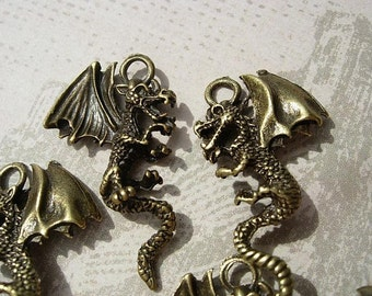 6  3D DRAGON Charm Drops - All Around D.I.Y. Fantasy Jewelry Making Inspired by Harry Potter Game of Thrones