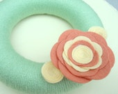 Mint and Coral Yarn Wreath. Mini 6 Inch Size. Wreath with Felt Flowers. Coral, Mint, Ivory.