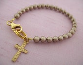 Silver / Gold Swarovski Pearl girls bracelet with Cross