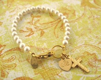 Gold cross pearl bracelet with initials, baptism bracelet, first holy communion gift