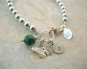 Girls butterfly bracelet with initial & genuine faceted turquoise