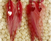 Red and Pink Valentine Feather Earrings