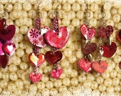 Colorful Dangling Red and Pink Heart Earrings