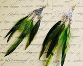 Skinny Green Feather Earrings 2 different styles available (sold separately) (Available in many colors)