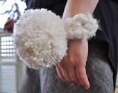 wool blend giant Snowball pom pon Corsage on crochet cuff wristlet