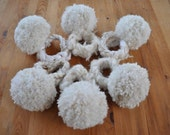 Set of 6 wool blend giant Snowball pom pon Corsages on crochet cuff wristlets