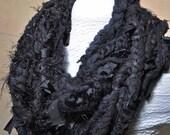 Black Infinity Scarf Cowl Chains neckpiece in layers of texture, wool, silk, cotton, nylon, velvet