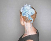Robyn's Egg Blue Fascinator headpiece, pom poms and flowers in wool, silk, cotton