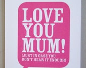 Love you mum - Mothers' Day Card
