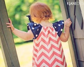Chevron Flutter Sleeve Dress. Coral and Navy - pinkberrypie