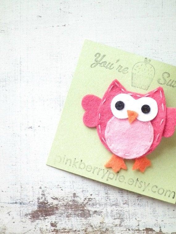 Pink Owl Felt Hair Clip