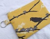 Yellow & Gray Aviary 2 Small Zippered Pouch