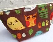 Colorful Owls Small Makeup Bag