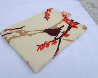 Brown & Orange Aviary 2 Zipper Pouch, Made and Ready to Ship