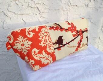 Large Brown & Orange Aviary 2 Makeup Bag