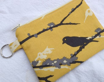 Yellow & Gray Aviary 2 Small Zippered Pouch