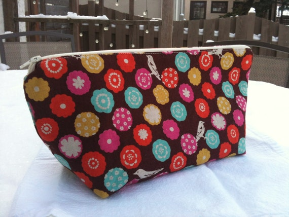 Colorful Birds Makeup Bag, Made & Ready to Ship