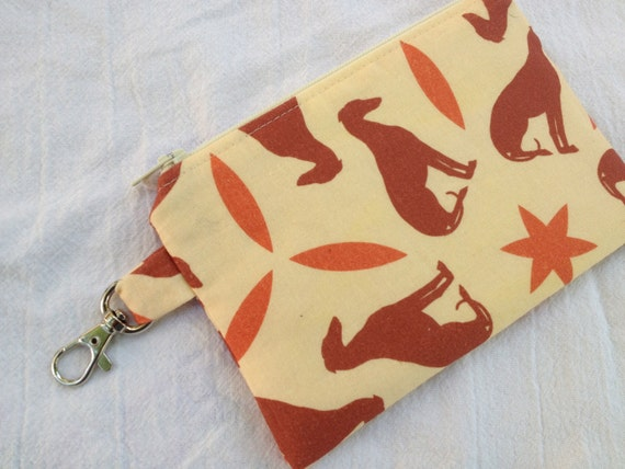 Orange Greyhounds Small Zippered Pouch