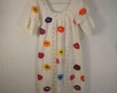 70s Folk Hippie Flower embroidered white cotton dress Size open S M L