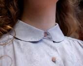 1970s periwinkle peter pan collar blouse S/M/L