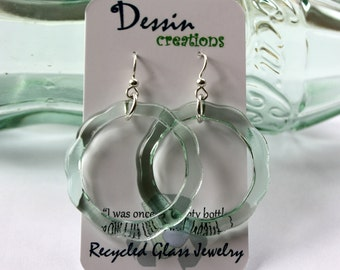 COLA Bottle Dangle Earrings, Recycled Fused Glass Earrings made out of a Recycled Coca-Cola ® Bottle, Dessin Creations