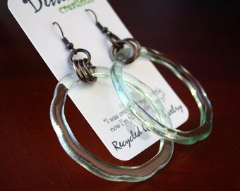 COLA Bottle Dangle Earrings, Fused Glass Jewelry, Made from an old Coca-Cola ® Bottle, Copper Earrings, Dessin Creations