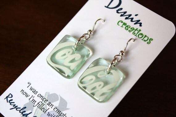 COCA COLA Earrings, Recycled Glass Jewelry, Coke Bottle Jewelry, Sterling Silver Earring, Coke Earrings, Glass Bottle, Dessin Creations