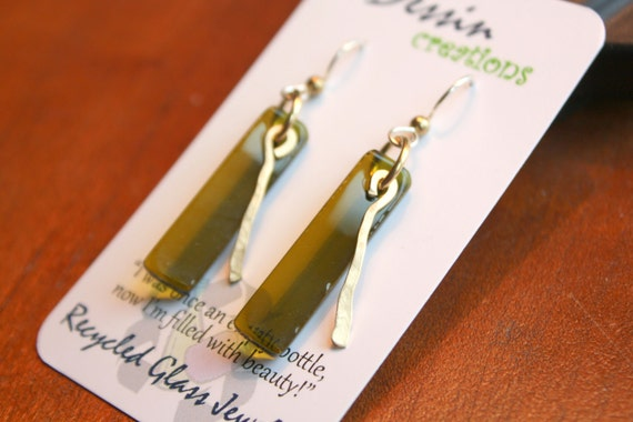 WINE Bottle Earrings, Golden BRASS, Recycled Glass Earrings, Handcrafted Jewelry, Unique Design, Dessin Creations