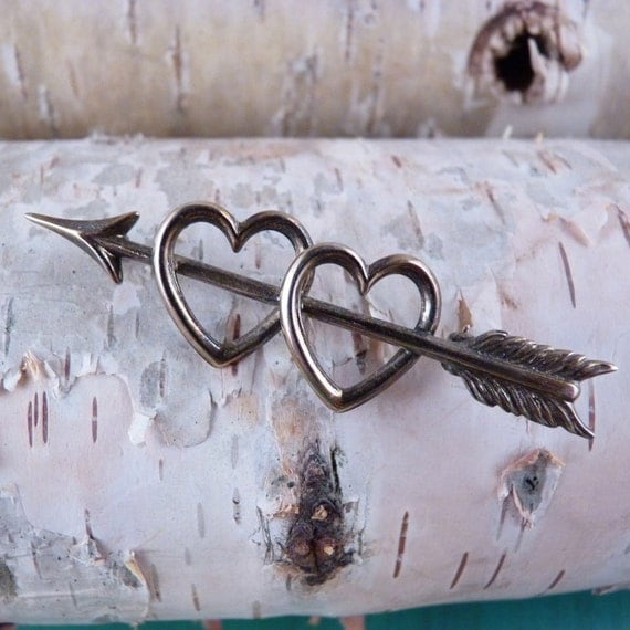 Sweetheart Valentine Double Hearts with Arrow Beau Sterling Silver Love Pin