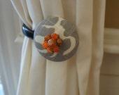 Curtain Tie Backs Tiebacks Drapery Tie Back Tieback Unique Tangerine Gray Vintage Jewelry FREE SHIPPING