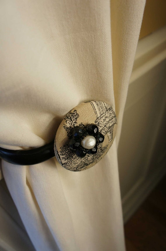 Items similar to Curtain Tie Backs Tiebacks Black White ...