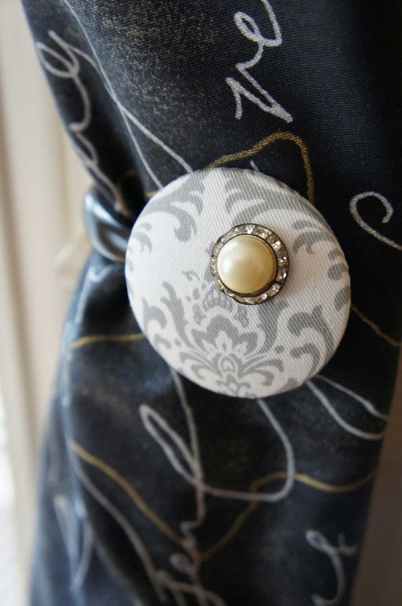 Reserved for Jen Stroiman 3 White Curtain Tiebacks Gray Silver Damask Pearl Vintage Cottage Chic Unique Curtain Tie Back