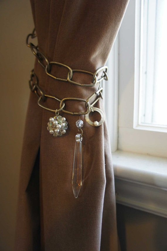 Curtain Tie Back with Vintage Findings Antique  Brass Chain Crystal Pearl Unique