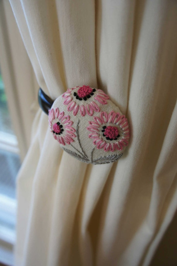 Curtain Tie Backs Pink Flower Nursery Decor Girl Shabby Chic Linen Vintage Hand Embroidery