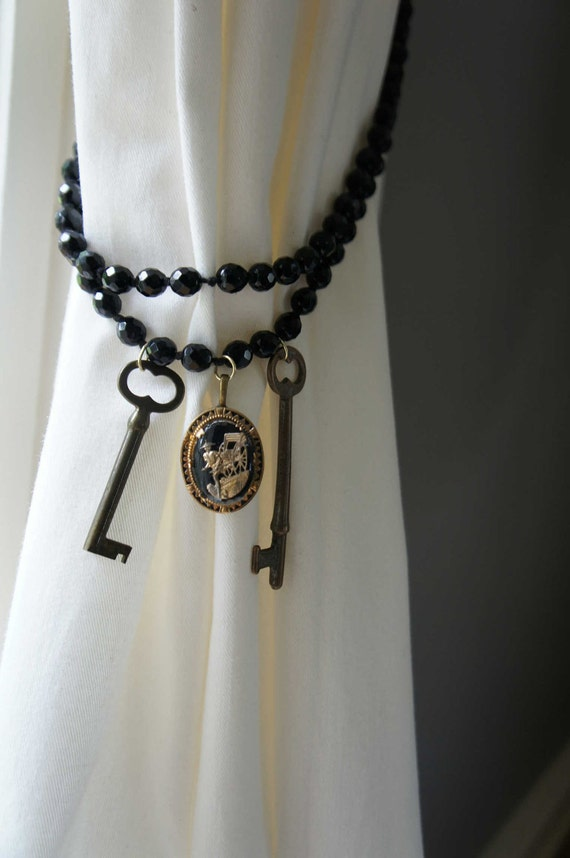 black curtain tie back glass bead cameo skeleton key findings