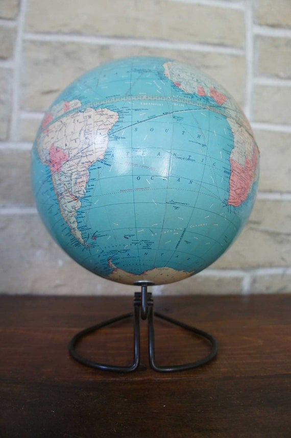 Reserved for Nancy MichaelsVintage Globe 10 Inch Standard Replogle Globes Art Deco Chicago Metal Wire Base 1945